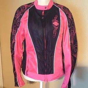 Harley Davidson pink and black jacket.
